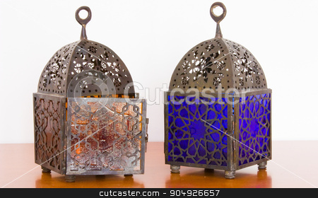 Egyptian lamps - two pieces stock photo, Egyptian lamps - metal and colored glass, from Cairo by Paolo Gallo