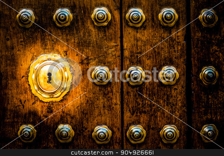Keyhole stock photo, Ancient Italian door (estimated 200 years old) in Tuscany. Keyhole useful for concepts. by Paolo Gallo
