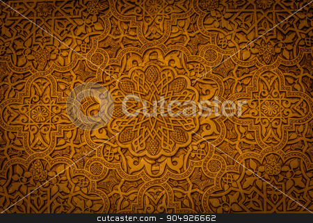 Ancient Arabic Characters stock photo, Wall detail of Alhambra UNESCO site in Granada - South of Spain. 600 years old arabic characters. by Paolo Gallo
