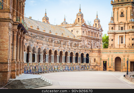 Seville Spain Square stock photo, Spain, Seville. Spain Square, a landmark example of the Renaissance Revival style in Spanish architecture by Paolo Gallo