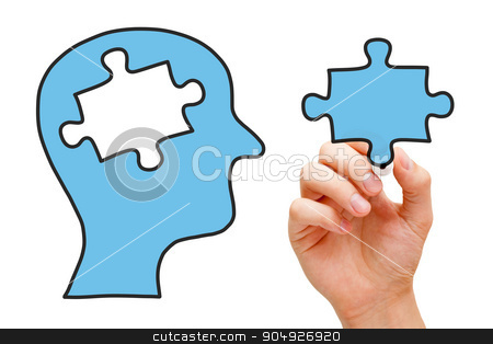 Puzzle Head Concept stock photo, Hand drawing human head with missing piece of puzzle in the middle. by Ivelin Radkov