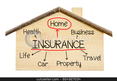 Insurance home concept. stock photo, Insurance home concept on Little home wooden model isolated on white background.  by Miss. PENCHAN  PUMILA