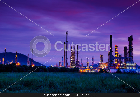 Oil refinery factory. stock photo, Oil refinery factory at sunrise, Thailand by Miss. PENCHAN  PUMILA