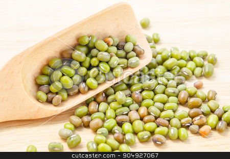 Healthy nutrition green raw organic mung beans. stock photo, Healthy nutrition green raw organic mung beans in wooden spoon. by Miss. PENCHAN  PUMILA