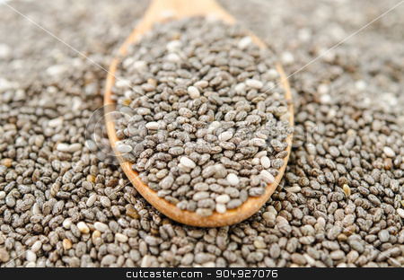 Chia seed. stock photo, Chia seed in wooden spoon by Miss. PENCHAN  PUMILA