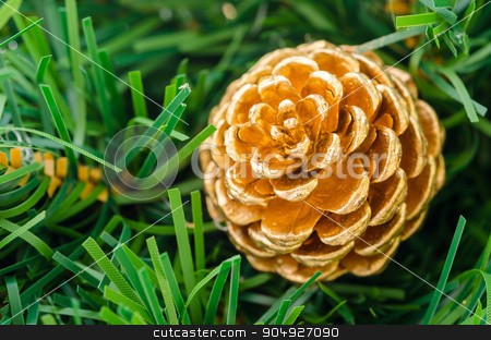 Beautiful color Christmas pine cone. stock photo, Beautiful color Christmas pine cone on green branches by Miss. PENCHAN  PUMILA