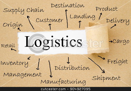 Key logistics concept. stock photo, Key logistics concept on torn paper background. by Miss. PENCHAN  PUMILA
