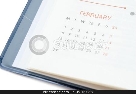 Close up February in diary. stock photo, Close up February in diary on white background. by Miss. PENCHAN  PUMILA