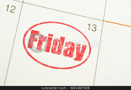 Friday 13th on calenday. stock photo, Friday 13th on Grunge paper calendar by Miss. PENCHAN  PUMILA