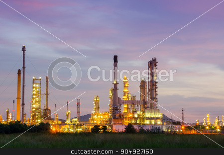 Petrochemical plant at twilight. stock photo, Petrochemical plant at twilight, Thailand. by Miss. PENCHAN  PUMILA