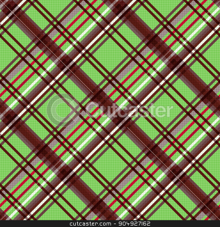 Diagonal seamless pattern in warm colors stock vector clipart, Detailed Diagonal seamless vector pattern as a tartan plaid mainly in green and brown colors by Nataliia