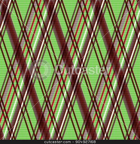 Rhombic seamless pattern in warm colors stock vector clipart, Detailed Rhomb seamless vector pattern as a tartan plaid mainly in green and brown colors by Nataliia