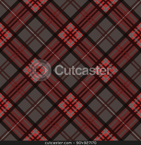 Diagonal seamless pattern in dark colors stock vector clipart, Detailed Diagonal seamless vector pattern as a tartan plaid mainly in brown, red and gray colors by Nataliia