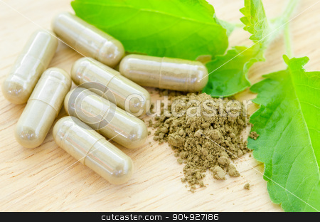 herbal medicine powder and capsules with green organic herb leav stock photo, herbal medicine powder and capsules with green organic herb leaves on wooden background. by Miss. PENCHAN  PUMILA