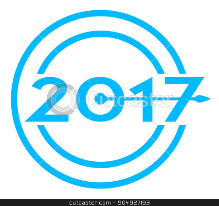 2017 Blue Date Clock stock vector clipart, A clock hand pointing over a blue 2017 date icon by Kotto