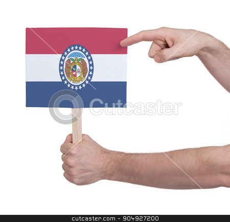 Hand holding small card - Flag of Missouri stock photo, Hand holding small card, isolated on white - Flag of Missouri by michaklootwijk