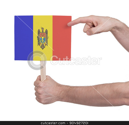 Hand holding small card - Flag of Moldova stock photo, Hand holding small card, isolated on white - Flag of Moldova by michaklootwijk
