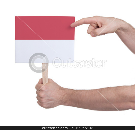 Hand holding small card - Flag of Monaco stock photo, Hand holding small card, isolated on white - Flag of Monaco by michaklootwijk