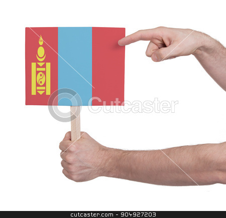 Hand holding small card - Flag of Mongolia stock photo, Hand holding small card, isolated on white - Flag of Mongolia by michaklootwijk
