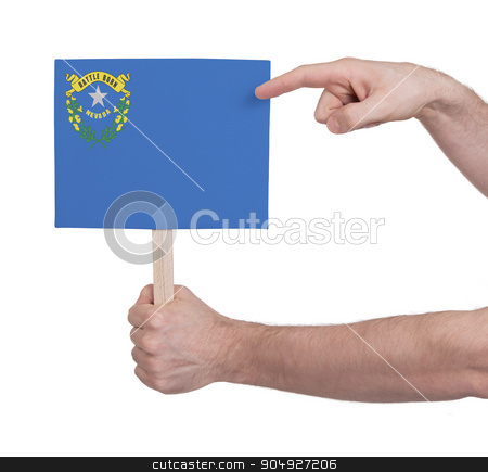 Hand holding small card - Flag of Nevada stock photo, Hand holding small card, isolated on white - Flag of Nevada by michaklootwijk