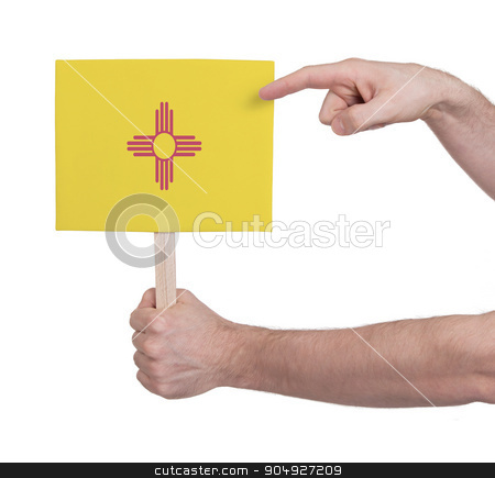 Hand holding small card - Flag of New Mexico stock photo, Hand holding small card, isolated on white - Flag of New Mexico by michaklootwijk