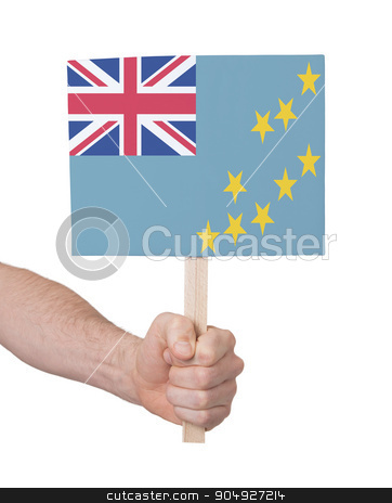Hand holding small card - Flag of Tuvalu stock photo, Hand holding small card, isolated on white - Flag of Tuvalu by michaklootwijk