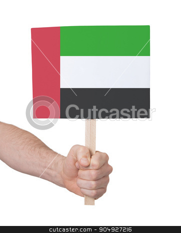 Hand holding small card - Flag of Sudan stock photo, Hand holding small card, isolated on white - Flag of Sudan by michaklootwijk