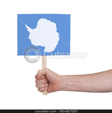 Hand holding small card - Flag of Antarctica stock photo, Hand holding small card, isolated on white - Flag of Antarctica by michaklootwijk