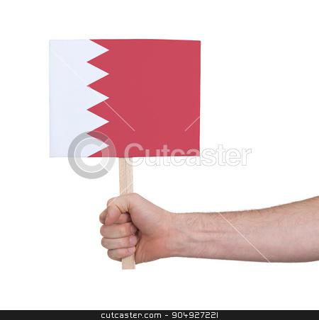 Hand holding small card - Flag of Bahrain stock photo, Hand holding small card, isolated on white - Flag of Bahrain by michaklootwijk