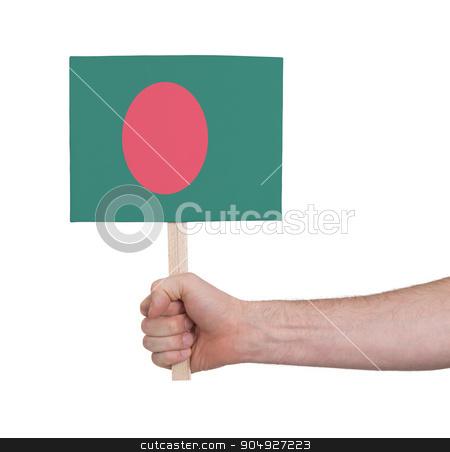 Hand holding small card - Flag of Bangladesh stock photo, Hand holding small card, isolated on white - Flag of Bangladesh by michaklootwijk