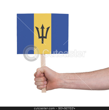 Hand holding small card - Flag of Barbados stock photo, Hand holding small card, isolated on white - Flag of Barbados by michaklootwijk