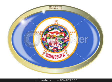Minnesota State Flag Oval Button stock vector clipart, Oval metal button with the Minnesota flag isolated on a white background by Kotto