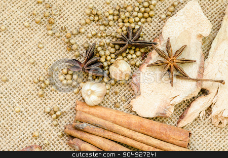 Collection of spices for mulled wine and pastry. stock photo, Collection of spices for mulled wine and pastry on sack background. by Miss. PENCHAN  PUMILA