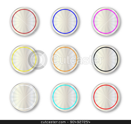Metal Circular Buttons stock vector clipart, A collection of color coded round metal buttons by Kotto