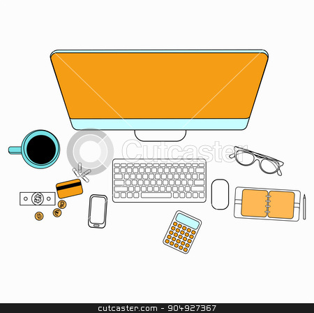 Set of flat design for desktop. Line icons flat design elements. Modern vector pictogram stock vector clipart, Set of flat design for desktop. Line icons flat design elements. Modern vector pictogram by Vladimir Khapaev