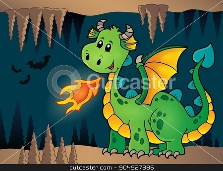 Cave with green happy dragon stock vector clipart, Cave with green happy dragon - eps10 vector illustration. by Klara Viskova