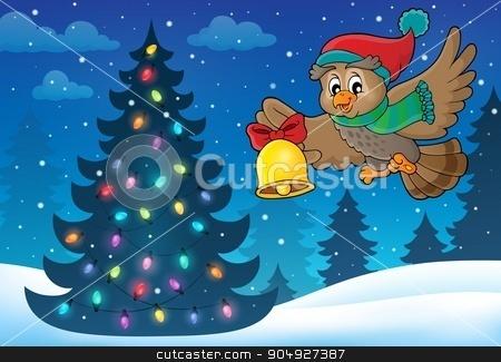 Christmas owl theme image 5 stock vector clipart, Christmas owl theme image 5 - eps10 vector illustration. by Klara Viskova