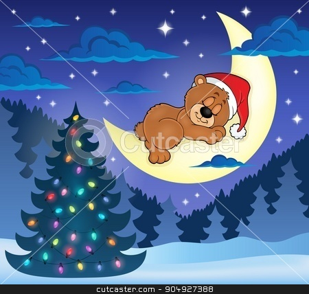 Christmas sleeping bear theme image 1 stock vector clipart, Christmas sleeping bear theme image 1 - eps10 vector illustration. by Klara Viskova