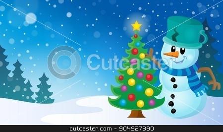 Christmas snowman theme image 8 stock vector clipart, Christmas snowman theme image 8 - eps10 vector illustration. by Klara Viskova