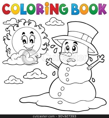 Coloring book melting snowman 1 stock vector clipart, Coloring book melting snowman 1 - eps10 vector illustration. by Klara Viskova