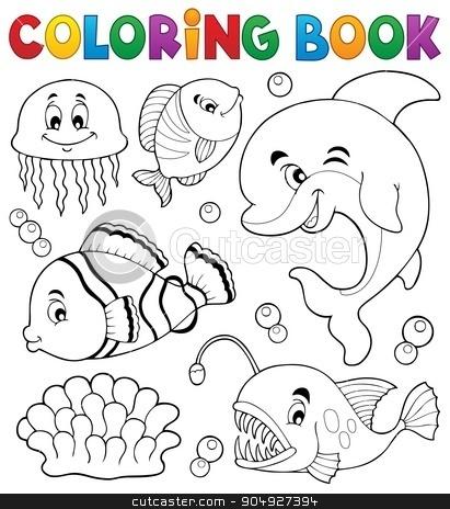 Coloring book ocean fauna topic 1 stock vector clipart, Coloring book ocean fauna topic 1 - eps10 vector illustration. by Klara Viskova