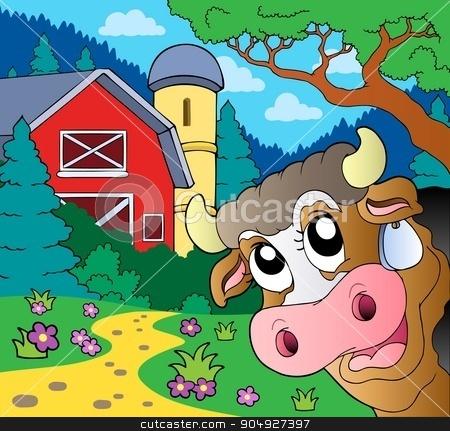 Farm theme with lurking cow stock vector clipart, Farm theme with lurking cow - eps10 vector illustration. by Klara Viskova