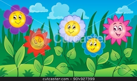 Flowers on meadow theme 4 stock vector clipart, Flowers on meadow theme 4 - eps10 vector illustration. by Klara Viskova