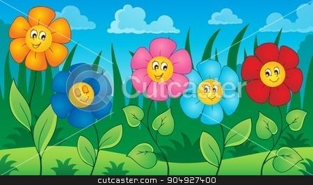 Flowers on meadow theme 5 stock vector clipart, Flowers on meadow theme 5 - eps10 vector illustration. by Klara Viskova