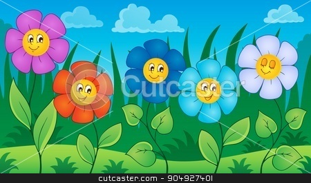 Flowers on meadow theme 6 stock vector clipart, Flowers on meadow theme 6 - eps10 vector illustration. by Klara Viskova