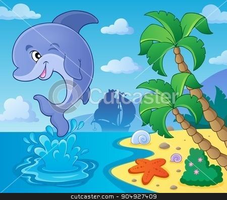 Jumping dolphin theme image 4 stock vector clipart, Jumping dolphin theme image 4 - eps10 vector illustration. by Klara Viskova