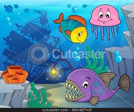 Ocean fauna topic image 3 stock vector clipart, Ocean fauna topic image 3 - eps10 vector illustration. by Klara Viskova