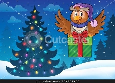Owl with gift theme image 5 stock vector clipart, Owl with gift theme image 5 - eps10 vector illustration. by Klara Viskova