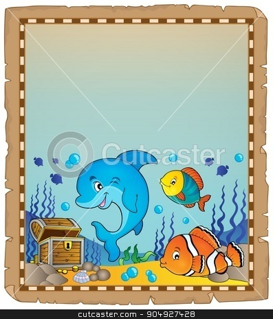 Parchment with underwater theme 8 stock vector clipart, Parchment with underwater theme 8 - eps10 vector illustration. by Klara Viskova