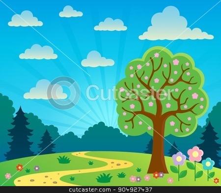 Spring topic scenery 2 stock vector clipart, Spring topic scenery 2 - eps10 vector illustration. by Klara Viskova